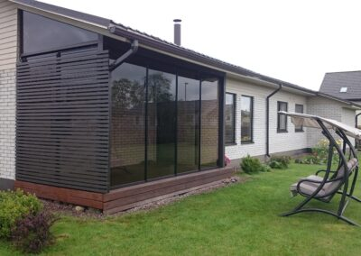Terrassile avatav ja kinnine klaassein